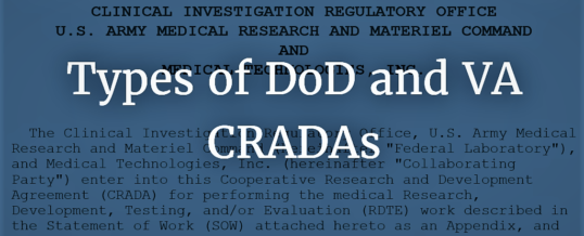 Types of DoD and VA CRADAs