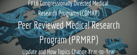 FY16 Congressionally Directed Medical Research Programs (CDMRP) Peer Reviewed Medical Research Program (PRMRP) Update and How Topics Change Year-to-Year