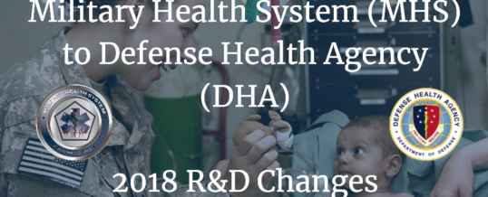 Military Health System (MHS) to Defense Health Agency (DHA) – 2018 R&D Changes